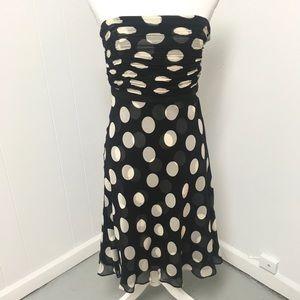 Ann Taylor  100% Silk Dress Polka Dot Strapless